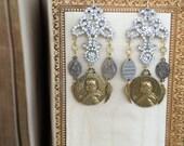 Joan of Arc assemblage earrings, devotional, religious