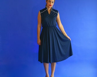 navy polka dot dress/ sleeveless blue dot day dress/ 1970s/ small - medium