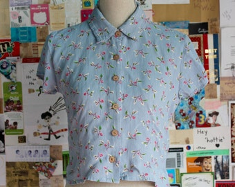 1980s baby blue blouse