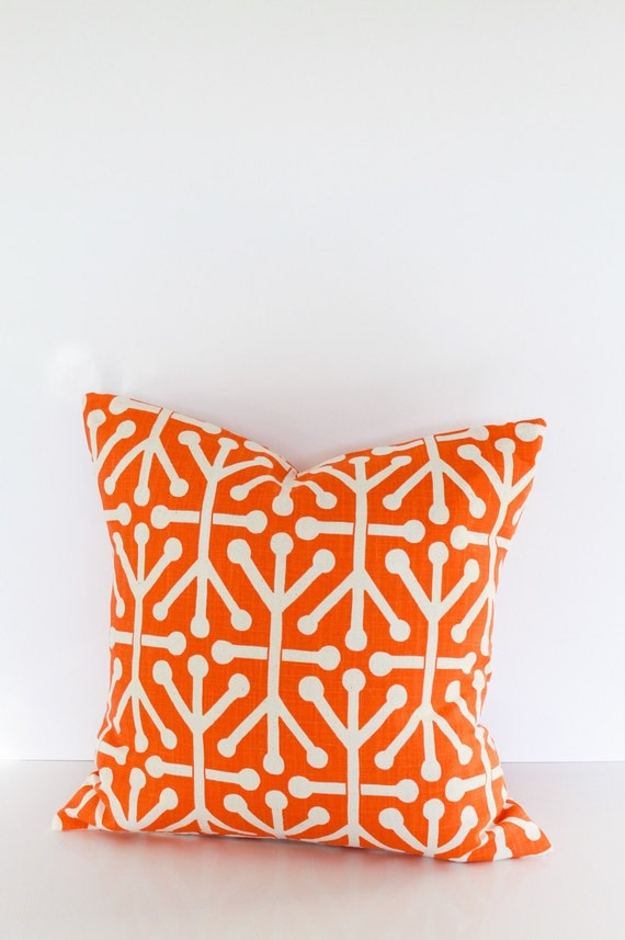 Throw Pillow Covers 18 Inches : 18 inch throw pillow cover Mandarin orange by CushionCutDecor