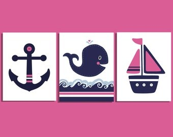 GIRLS NAUTICAL PINK navy, whale nursery, set of 3 Hamptons, Kids Nautical Bedroom, navy pink bedding, whale bathroom Baby Girl Nursery, 8x10