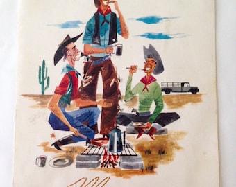 Vintage 1950s Trail Coffee Shop Cheyenne Wyoming Menu Cowboy Art
