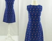 On reserve Petite Bouquet Dress - Vintage 1980s Cobalt Floral Shift Dress - Medium Large by Jay Lynn
