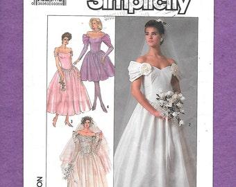 Vintage 1980's Simplicity 8413 Bridal, Or Bridesmaid Gown With Drop Shoulder Sleeves, Princess Bodice, Size 18, UNCUT