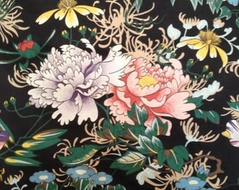 Vintage Fabric Sample Cotton Drapery/Upholstery Floral Panel Maker Distributor Unknown