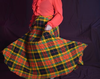 Glad To Be Plaid 1960s Vintage Ardee High Empire Waist Accordian Wool Blend Warm Maxi Skirt Sz Small