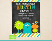 Little Monster Invitation - Little Monster Invite - Monster Bash invitation - Monster Birthday Invitation - Digtal & Printed Available