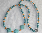 Special Dolphins Fans Colors Teal Magnesite & a Pop of Orange faux Turquoise and Coral Keys and Caribbean Island and Southwest with a Toggle