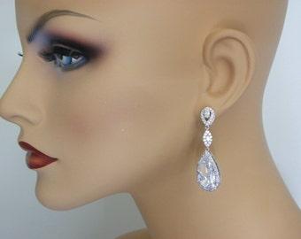 Bridal Earrings, Wedding Earrings Bridal Party Cubic Zirconia Teardrop Earrings Sparkly Crystal, Dangle Earrings bridal, bridesmaid gift