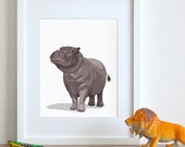 Hippo art print, hippopotimus nursery artwork, baby jungle animal print, safari childrens ilustration - nursery art