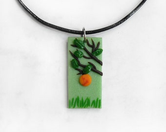 Peachy Handmade Polymer Clay Pendant - Landscape Jewelry - Gift for Her - Organic Necklace - OOAK Unique Jewelry