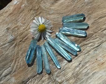 Aqua Aura Quartz Crystals, x10, High Grade, Points ~ Jewelry Supplies ~ 5.2g / 18-23 mm ~ Spiritual Wisdom ~ Inner Peace ~ (4-25)