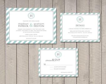 Modern Stripes Wedding Invitation, RSVP, Details Card (Printable) by Vintage Sweet