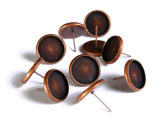 12mm earstud antique copper findings - nickel free lead free cadmium free - 10 pieces (5 pairs) (1530) - Flat rate shipping