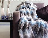 Custom afghan - custom blanket unique chevron crochet throw with your colors!