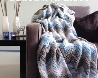 Custom afghan - custom blanket unique chevron crochet throw with your colors!