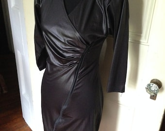80's Black Shimmer Zipper Dress