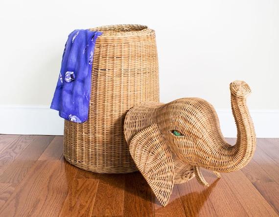Wicker Elephant Hamper Storage By Pickloveenjoy On Etsy