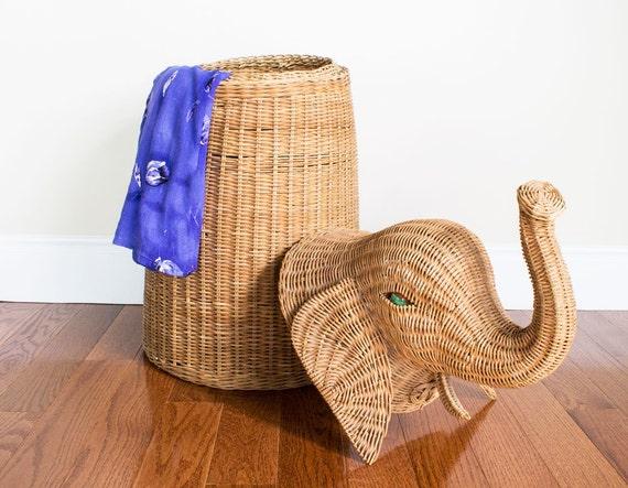 Wicker elephant hamper storage by pickloveenjoy on etsy - Elephant wicker hamper ...