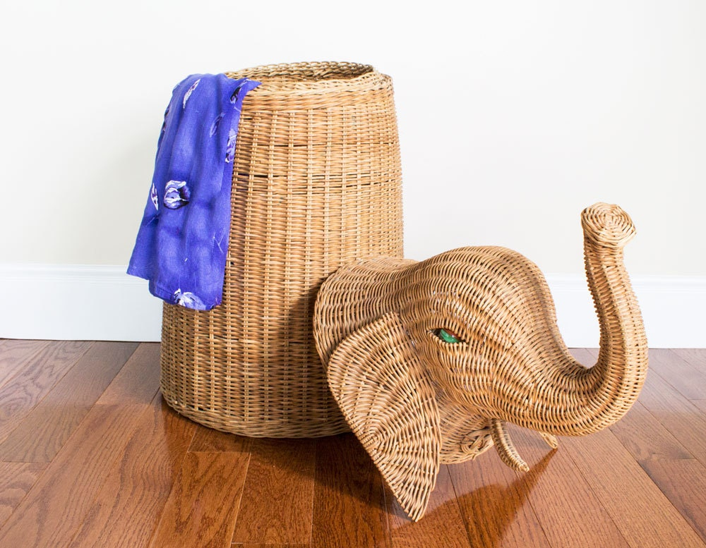 Wicker elephant hamper storage by pickloveenjoy on etsy - Elephant hamper wicker ...