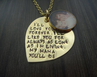 Personalized Hand Stamped Heart Photo Charm Necklace - Mother of the Bride Gift - Gift for Mom - Gift for Her - Mother of the Groom