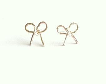 Bow Earrings, Bow Stud Earrings, Silver Bow Earrings, Best Friend Earrings, Tie The Knot Earrings, Delicate Stud Earrings, Gift Under 20
