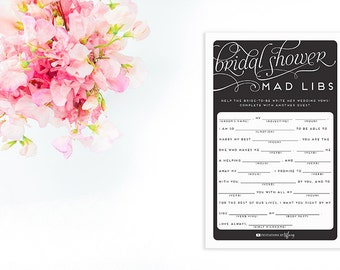 Instant Download Printable Bridal Shower Mad Libs - Original - Help the Bride-to-be Write Her Vows! Bridal Shower Black White Daffodil EC04