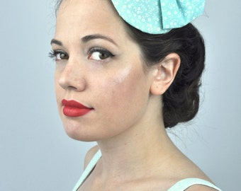 Retro Bow Fascinator in Mint Green Floral Print