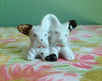 Vintage 20s/30s Hand Painted French Bulldog Twins Figurine