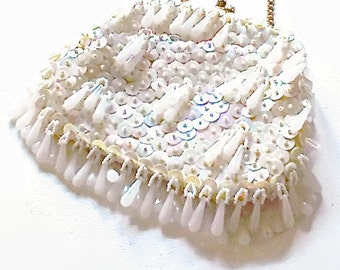 Vintage White Evening Bag Sequin and Drop Beads 1960  Encore Bridal Wedding