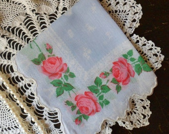 Light Blue Hanky with Red Rose Border