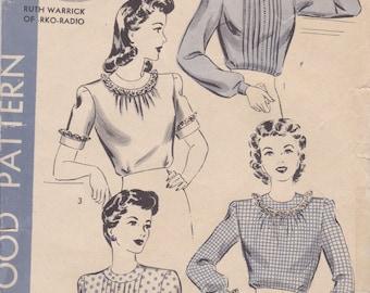 1940s Versatile Blouse Pattern Hollywood 1165 Size 12 Unused