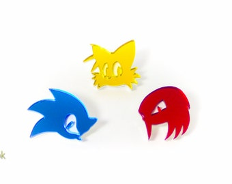 Sonic, Tails, and Knuckles Pins - Laser Cut