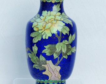 Vintage cloissone vase with peonies, small Chinese cloissone vase with floral pattern on cobalt blue ground