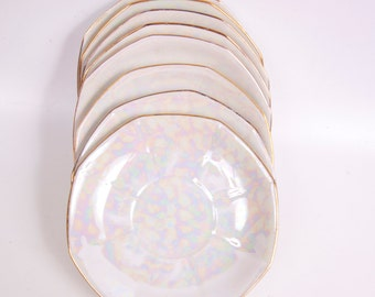 Antique Germany Saucers Opalescent Moonglow Pattern 1928 Porcelain Set of 8 Made in Germany Fine Bone China