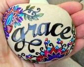 grace / painted rocks / painted stones / Sandi Pike Foundas / sea stones/ Cape Cod / paperweight
