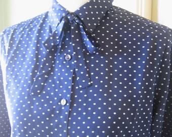 Vintage Navy Blue Neck Tie Shirt; Small White Polka Dots - Large, Dark Blue with White Polka Dot Blouse - Dotty Navy Office/Secretary Top