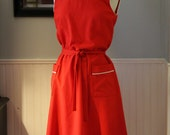 Vintage 1960s Mod Red with White Piping Day Dress, Large
