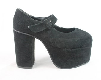 80s 90s Grunge Goth Black Faux Suede Mega Buckled Chunky Heel Platform Mary Janes Dolly Shoes UK 4.5 / US 7 / EU 37.5