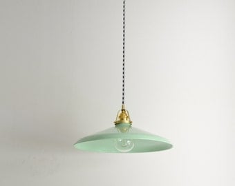 "Mint green & brass pendant light with a houndstooth cloth covered cord. 14"" metal shade • THE CREOLE"