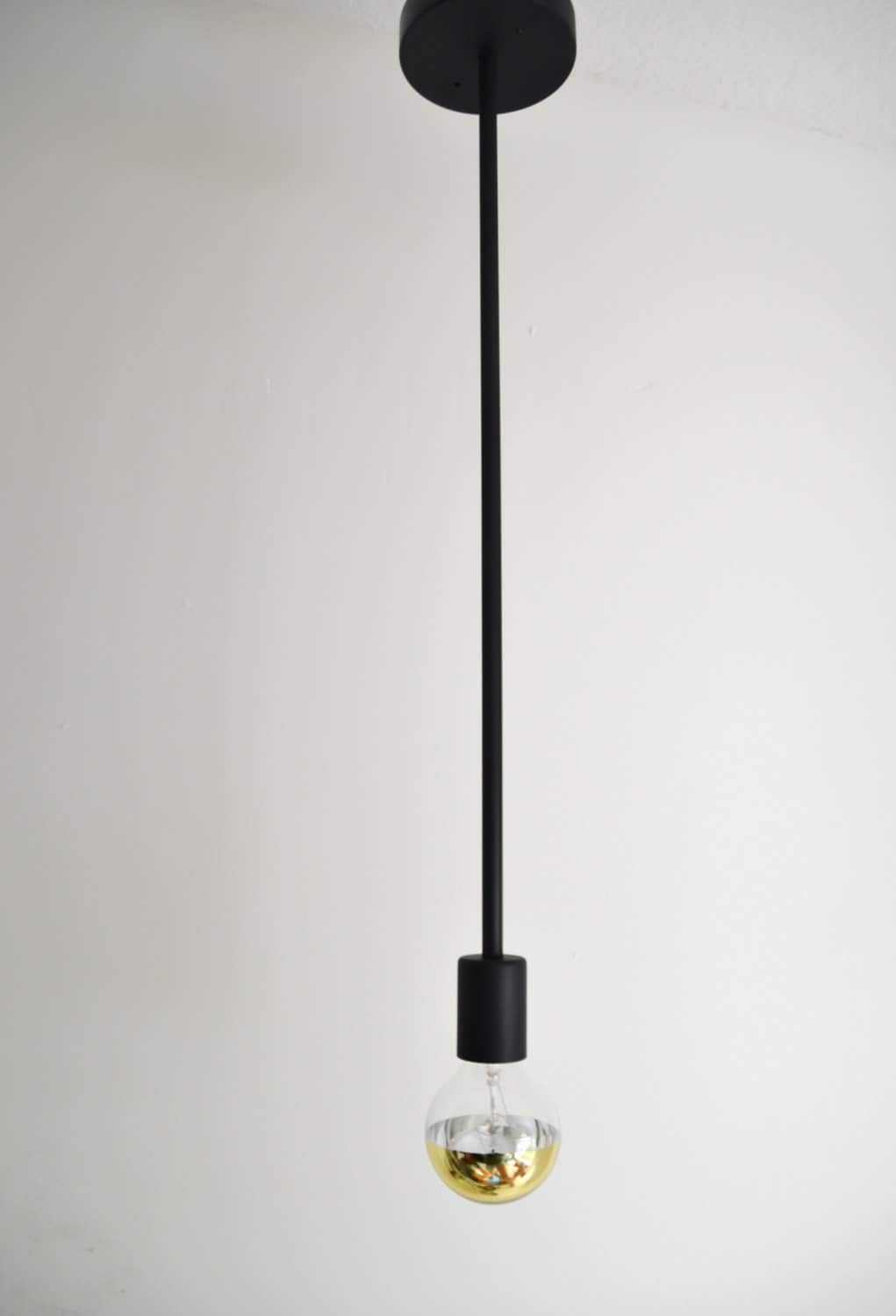 Stem Modern Single Rod Black Light Fixture Simple Hanging