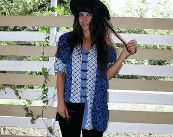 Mix Match Blue Button Up Blouse