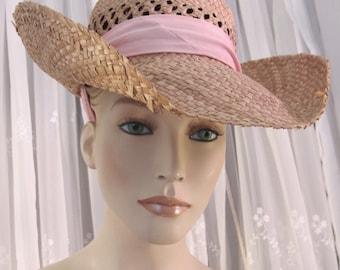 Vintage 80's women's  straw wide brimmed  sun hat with tie strap