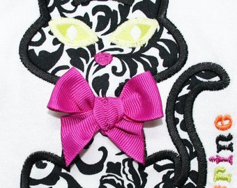 INSTANT DOWNLOAD Black Cat Machine Embroidery Applique Design