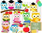 School owls,Graduation owls,Cute owls digital clip art set-Personal and Commercial Use