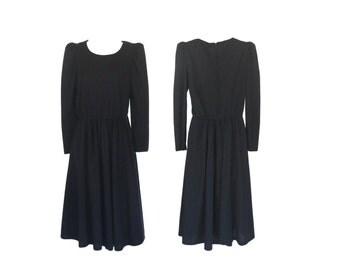 Black Dress Long Sleeve Dress Black Long Sleeve Dress Mid Calf Dress Puff Shoulder Spring Dress A Line Dress Casual Dress 80s Dress Women