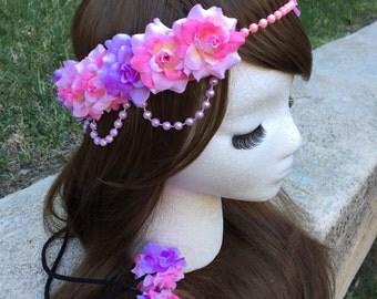 Pre-Order Pink and Lavender Rose Pearl Band Goddess Flower Crown Headband Purple Rapunzel Tangled