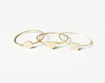 triplet- 14k yellow gold rings/ thin gold ring/ gold triangle ring/ gold stacking rings/ minimal stacking rings/ stacking ring set/thin ring
