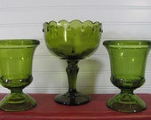 Green Glass Trio Vintage Compote Home Decor  Booth Display Candy Buffet Wedding Centerpieces
