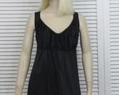 Vintage Long NIghtgown Cattani of California  Black Nylon Size 38 Empire Style